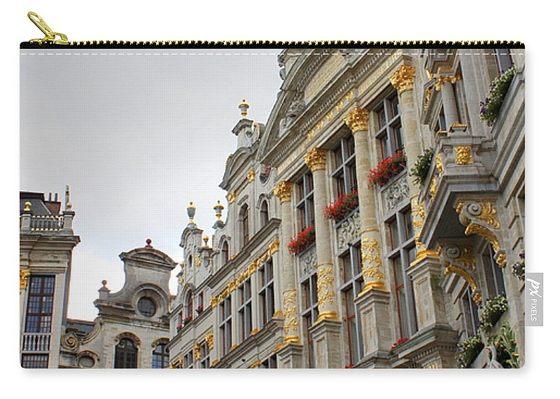 Brussels Carry-all Pouch featuring the photograph Golden Grand Place by Carol Groenen
