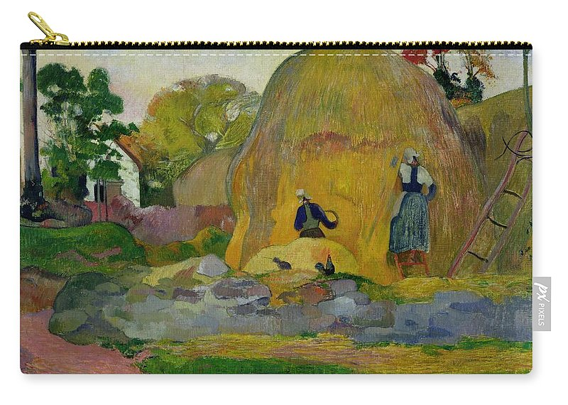 Yellow Haystacks Carry-all Pouch featuring the painting Golden Harvest by Paul Gauguin