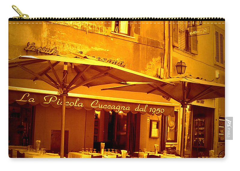 Italy Carry-all Pouch featuring the photograph Golden Italian Cafe by Carol Groenen