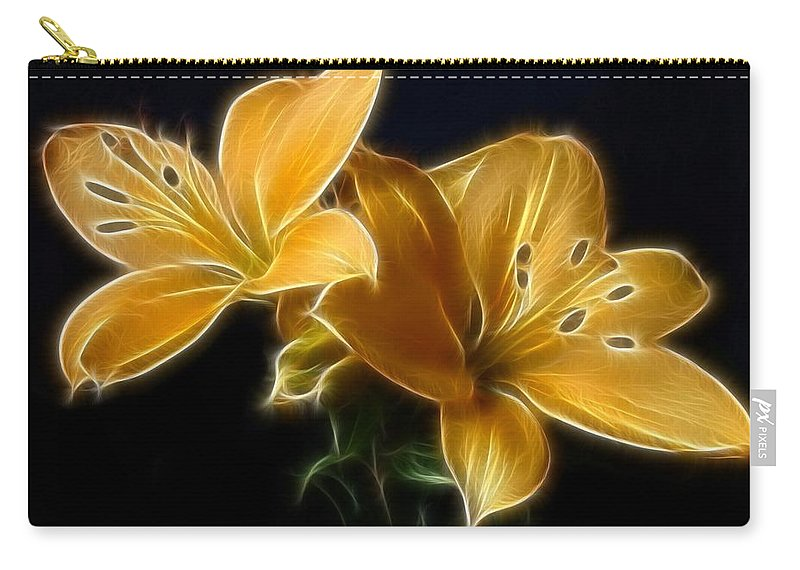 Lilies Carry-all Pouch featuring the digital art Golden Lilies by Sandy Keeton