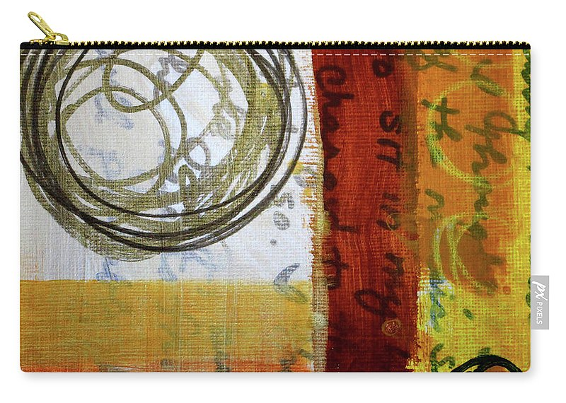 Golden Marks Abstract Painting Carry-all Pouch featuring the painting Golden Marks 5 by Nancy Merkle