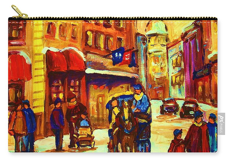 Montreal Carry-all Pouch featuring the painting Golden Olden Days by Carole Spandau