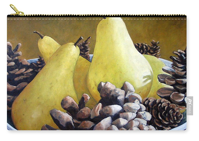 Canadian Carry-all Pouch featuring the painting Golden Pears And Pine Cones by Richard T Pranke