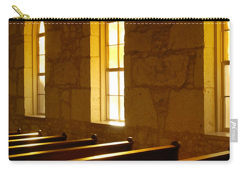 Worship Carry-all Pouch featuring the photograph Golden Pews by Jill Reger