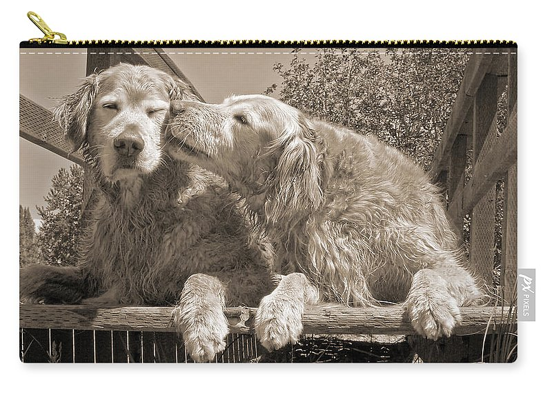 Golden Retriever Carry-all Pouch featuring the photograph Golden Retriever Dogs The Kiss Sepia by Jennie Marie Schell
