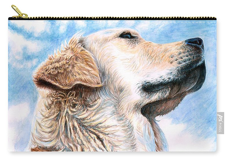 Dog Carry-all Pouch featuring the painting Golden Retriever by Nicole Zeug