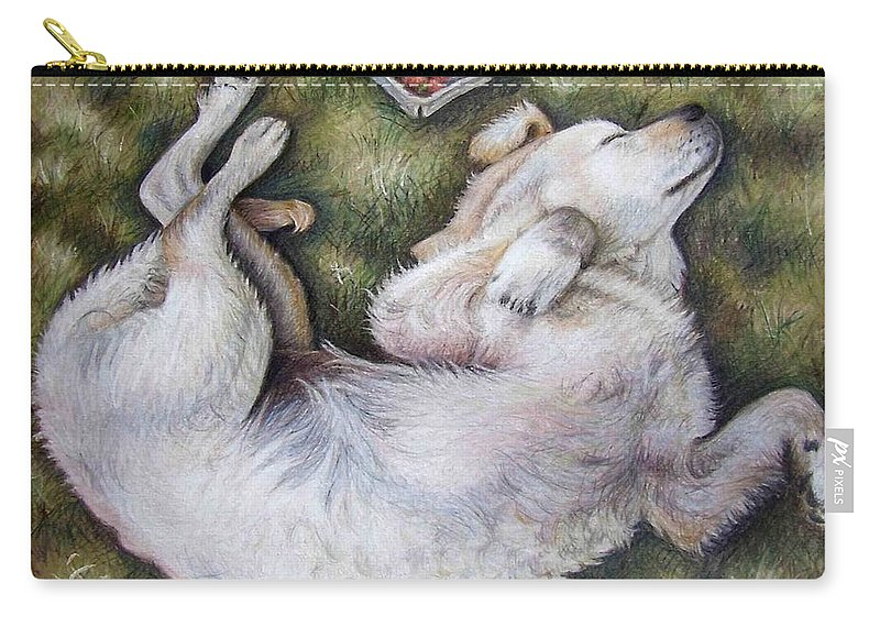 Dog Carry-all Pouch featuring the pastel Golden Retriever Puppy by Nicole Zeug