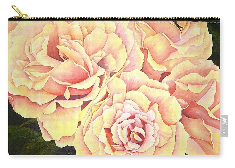 Roses Carry-all Pouch featuring the painting Golden Roses by Rowena Finn