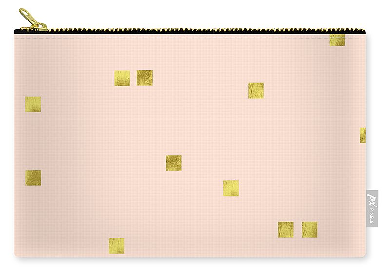Minimalist Carry-all Pouch featuring the digital art Golden scattered confetti pattern, baby pink background by Tina Lavoie