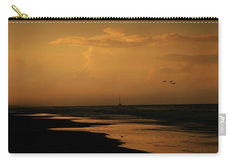 Sunset Carry-all Pouch featuring the photograph Golden Sea by Pattie Frost