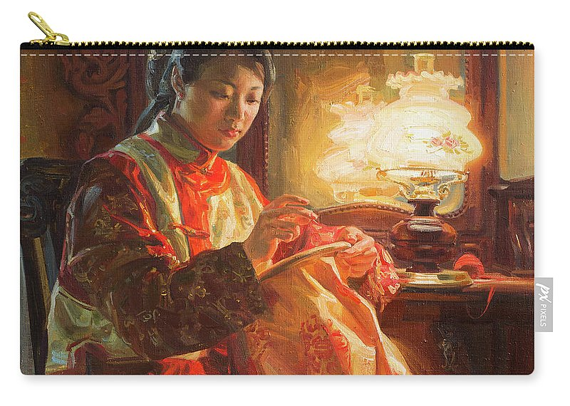 Girl Carry-all Pouch featuring the painting Golden silk by Victoria Kharchenko