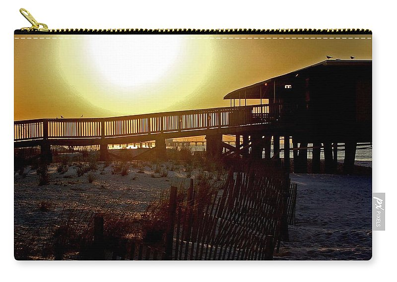Beach Carry-all Pouch featuring the painting Golden Slats by Michael Thomas