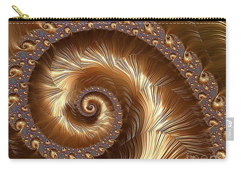 Fractals Carry-all Pouch featuring the digital art Golden Sparkling Spiral by Elisabeth Lucas