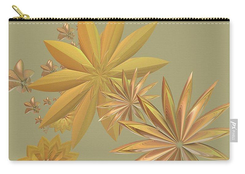 Stars Carry-all Pouch featuring the digital art Golden Stars by Deborah Benoit