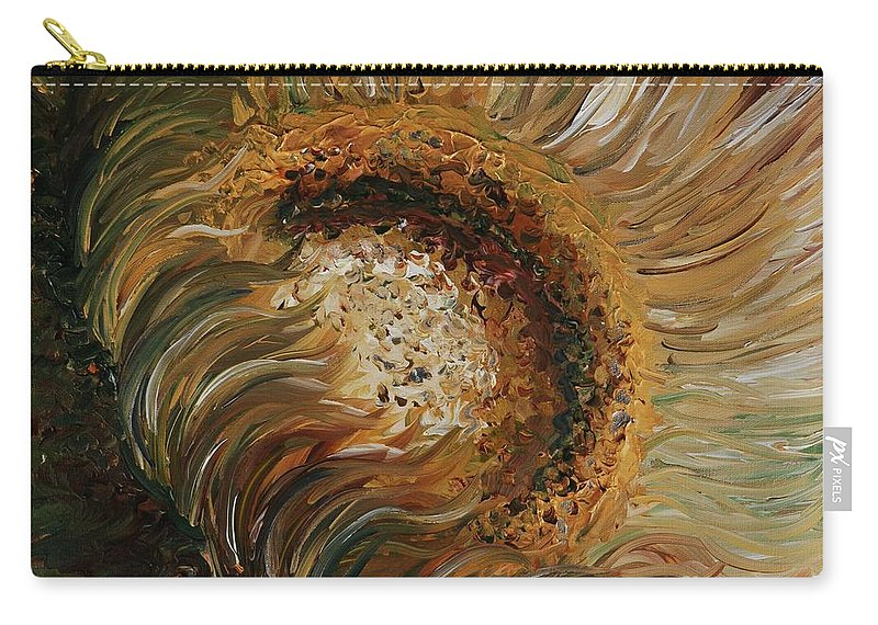 Sunflower Carry-all Pouch featuring the painting Golden Sunflower by Nadine Rippelmeyer