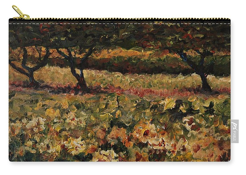 Landscape Carry-all Pouch featuring the painting Golden Sunflowers by Nadine Rippelmeyer