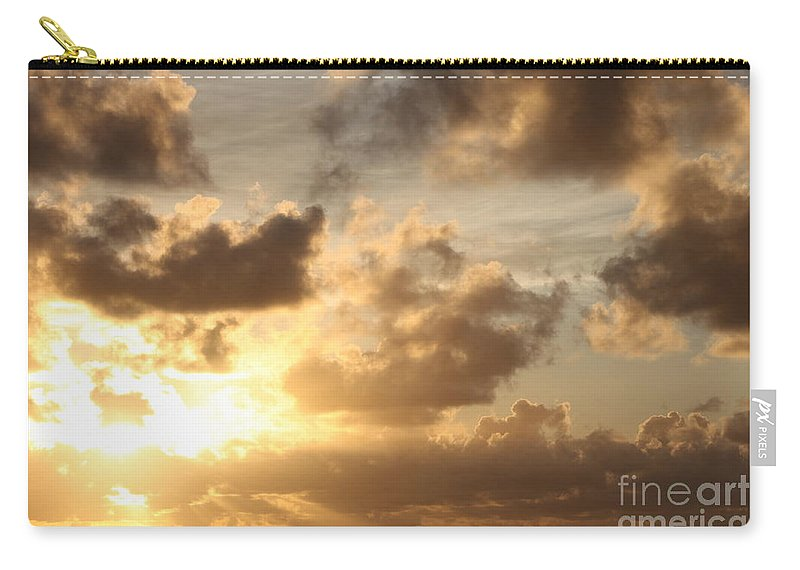 Sunrise Carry-all Pouch featuring the photograph Golden Sunrise On Kauai by Nadine Rippelmeyer