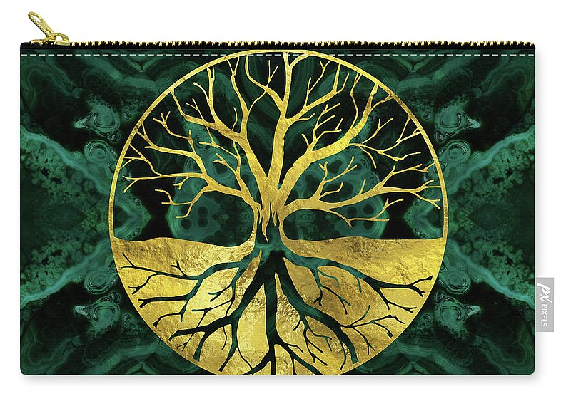 Tree Of Life Carry-all Pouch featuring the digital art Golden Tree Of Life Yggdrasil On Malachite by Creativemotions