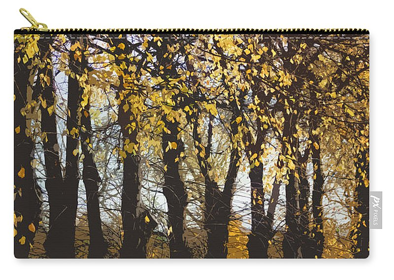 Abstract Carry-all Pouch featuring the digital art Golden Trees 1 by Carol Lynch