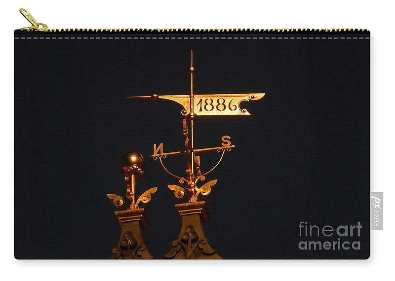 Wind Vain Carry-all Pouch featuring the photograph Golden Wind Vain by David Lee Thompson