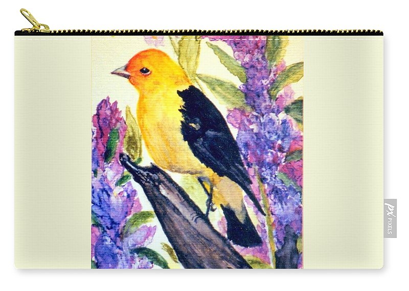 Birds Carry-all Pouch featuring the painting Goldfinch by Gail Kirtz