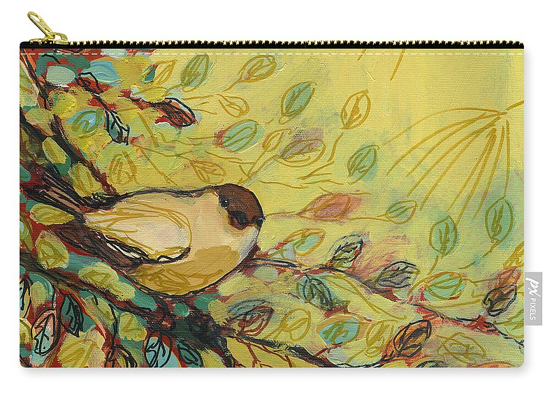 Bird Carry-all Pouch featuring the painting Goldfinch Waiting by Jennifer Lommers
