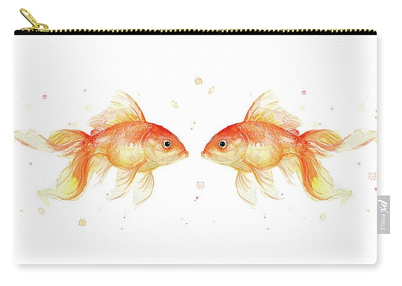 Gold Carry-all Pouch featuring the painting Goldfish love Watercolor by Olga Shvartsur