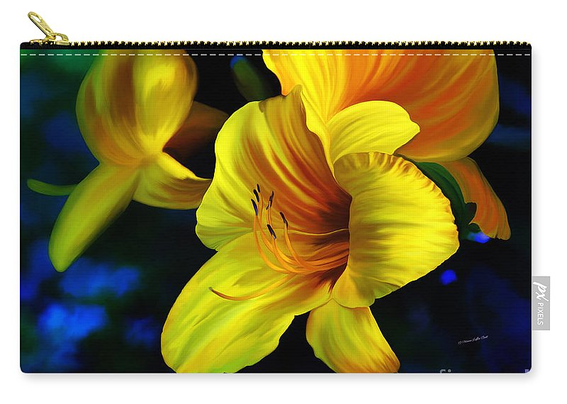 Flower Painting Carry-all Pouch featuring the painting Goldrush by Patricia Griffin Brett