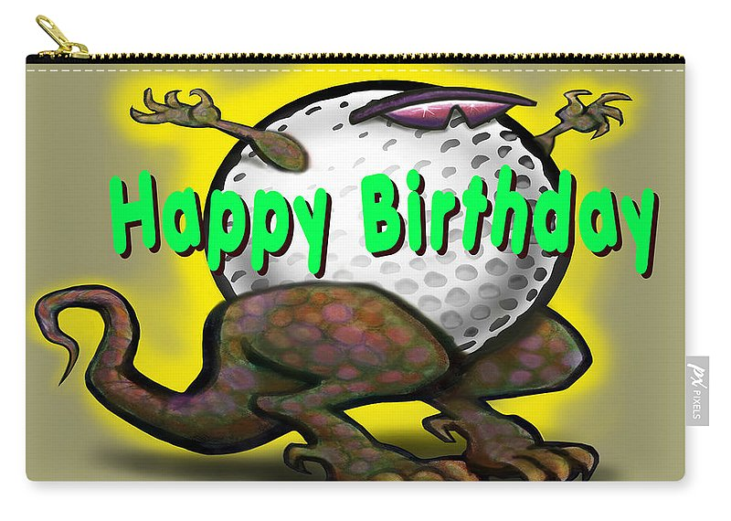 Golf Carry-all Pouch featuring the greeting card Golf A Saurus Birthday by Kevin Middleton