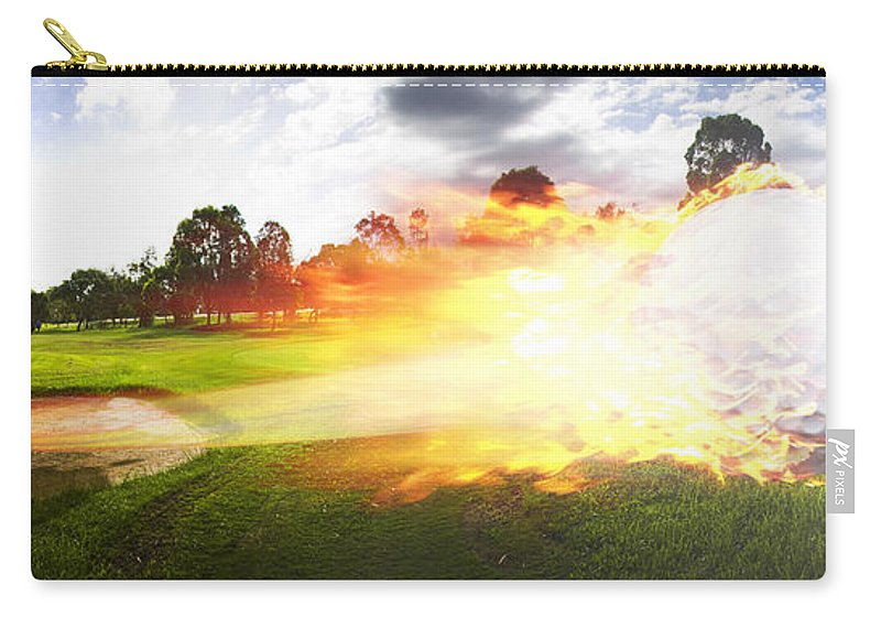 Vacation Carry-all Pouch featuring the photograph Golf Ball On Fire by Jorgo Photography - Wall Art Gallery