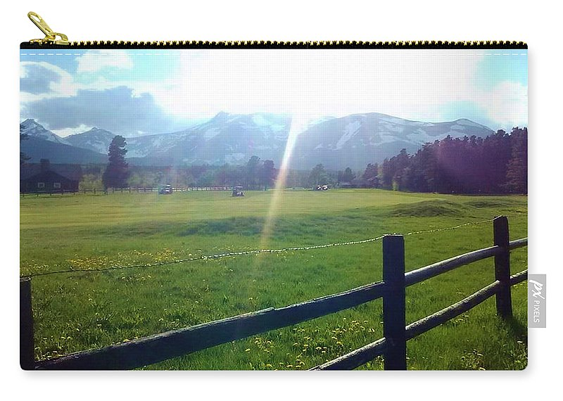 Mountains Carry-all Pouch featuring the photograph Golf Course Sun Rays by Eric Fellegy