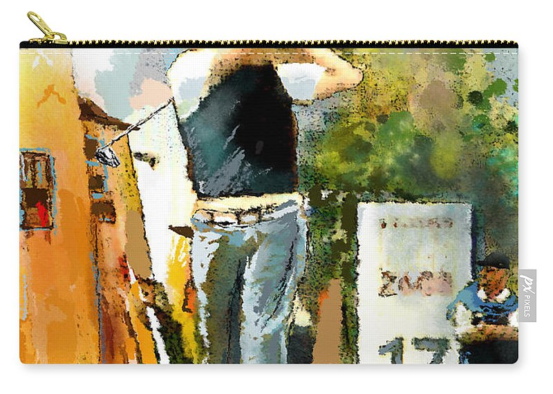 Golf Carry-all Pouch featuring the painting Golf In Club Fontana Austria 01 Dyptic Part 01 by Miki De Goodaboom