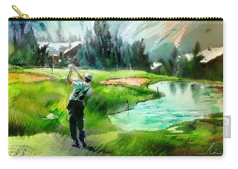 Golf Carry-all Pouch featuring the painting Golf In Crans Sur Sierre Switzerland 01 by Miki De Goodaboom