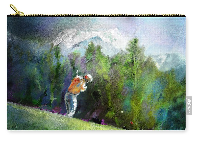 Golf Carry-all Pouch featuring the painting Golf In Crans Sur Sierre Switzerland 02 by Miki De Goodaboom