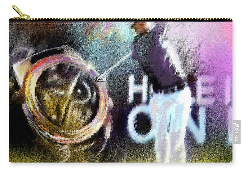 Golf Carry-all Pouch featuring the painting Golf In Crans Sur Sierre Switzerland 03 by Miki De Goodaboom