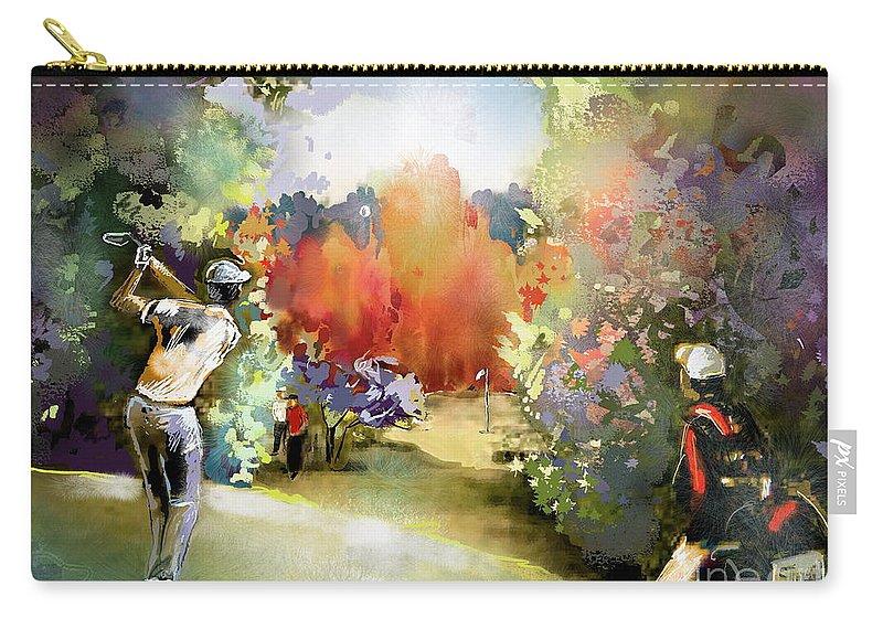 Golf Painting Golfer Sport Gut Laerchenhof Mercedes-benz Championship Pga Golf Carry-all Pouch featuring the painting Golf In Gut Laerchehof Germany 02 by Miki De Goodaboom