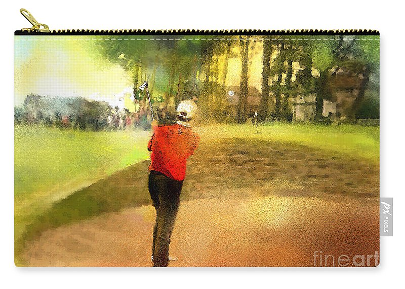 Golf Carry-all Pouch featuring the painting Golf In Scotland Saint Andrews 01 by Miki De Goodaboom