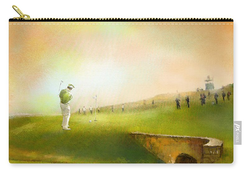Golf Carry-all Pouch featuring the painting Golf In Scotland Saint Andrews 02 by Miki De Goodaboom