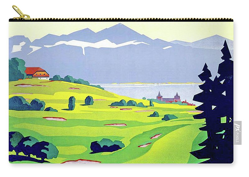 Golf Carry-all Pouch featuring the digital art Golf, Lausanne, Switzerland, Travel Poster by Long Shot