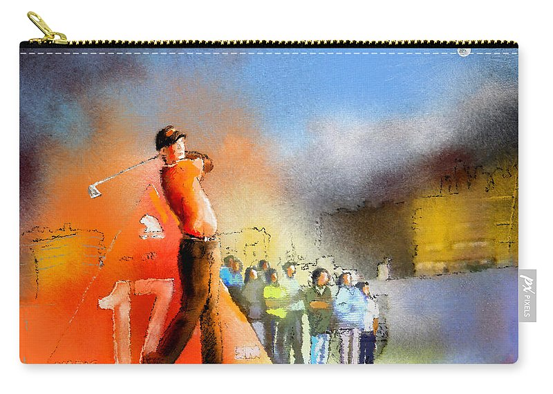 Golf Carry-all Pouch featuring the painting Golf Madrid Masters 01 by Miki De Goodaboom