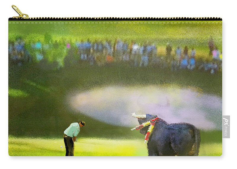 Golf Carry-all Pouch featuring the painting Golf Madrid Masters 03 by Miki De Goodaboom
