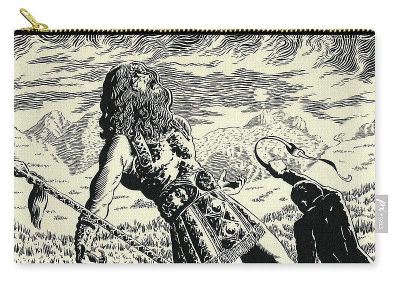 Goliath Carry-all Pouch featuring the drawing Goliath by Lance Miyamoto