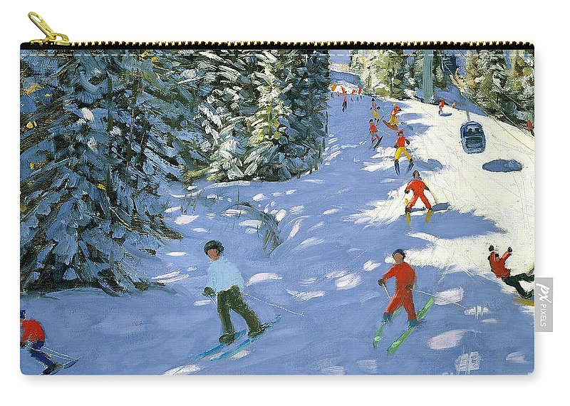 Piste Carry-all Pouch featuring the painting Gondola Austrian Alps by Andrew macara