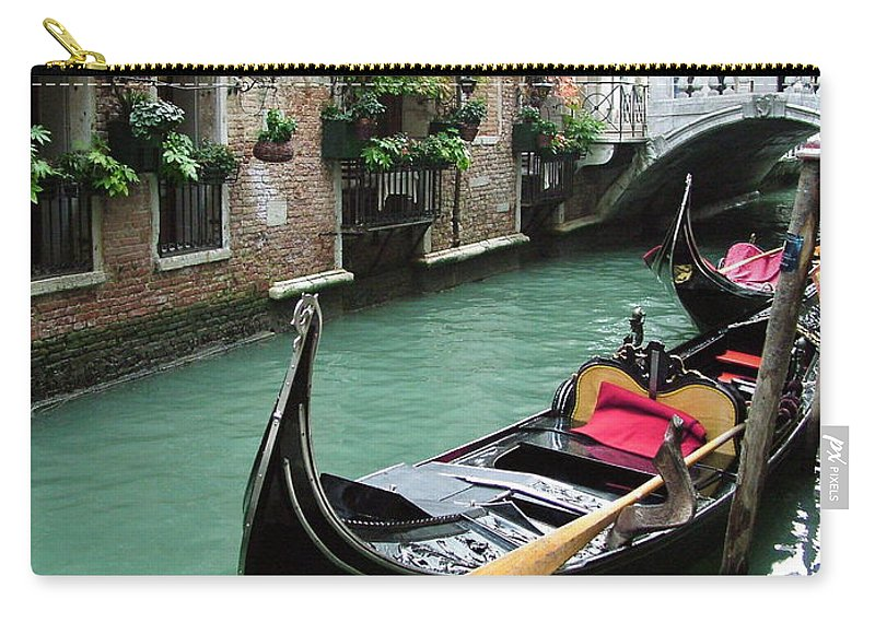 Venice Photos Carry-all Pouch featuring the photograph Gondola By The Restaurant by Donna Corless