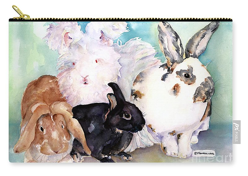 Animal Artwork Carry-all Pouch featuring the painting Good Hare Day by Pat Saunders-White