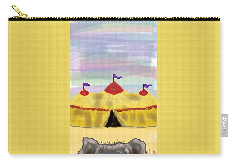 Big Top Circus Elephant Carry-all Pouch featuring the digital art Goodbye Elephant by David R Keith