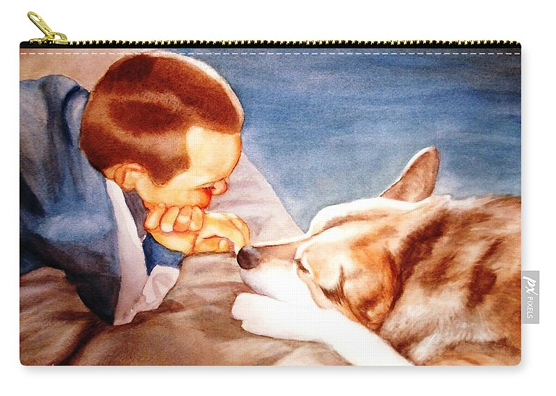 Boy & Dog Carry-all Pouch featuring the painting Goodbye Misty by Marilyn Jacobson