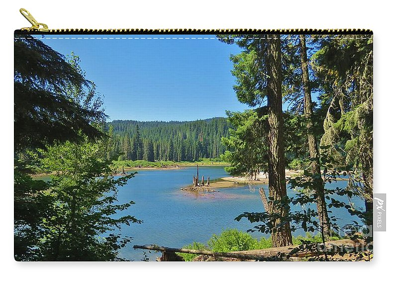 Goose Lake Carry-all Pouch featuring the photograph Goose Lake by Mel Manning