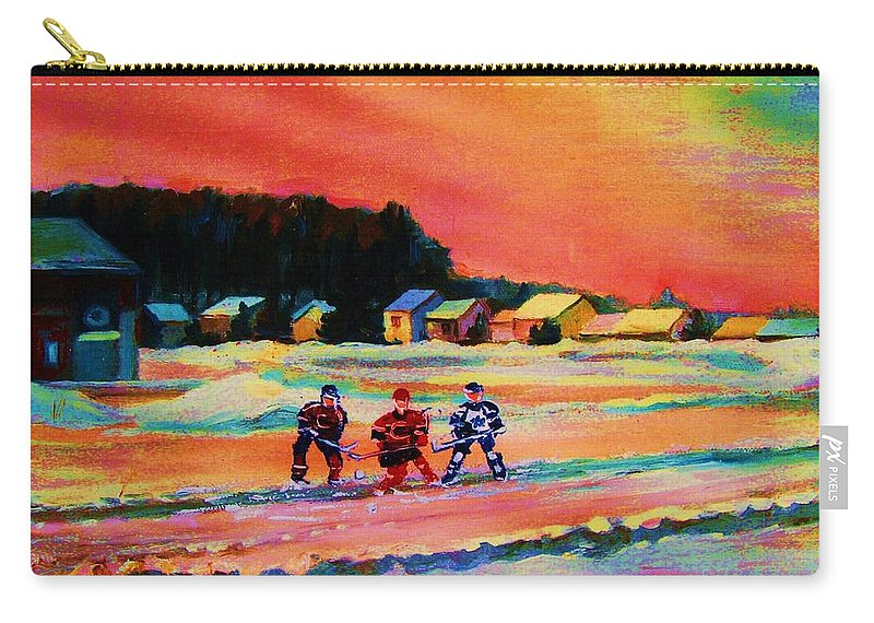Hockey Landscape Carry-all Pouch featuring the painting Gorgeous Day For A Game by Carole Spandau