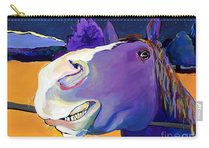 Barnyard Animal Carry-all Pouch featuring the painting Got Oats   by Pat Saunders-White